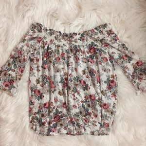 Tops - OVER THE SHOULDER FLORAL TOP